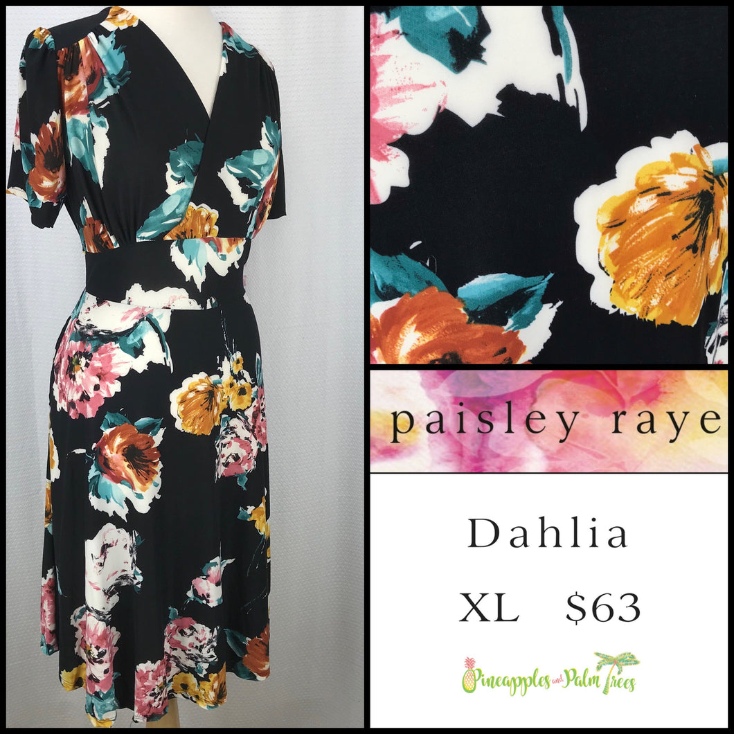 Paisley Raye Dahlia dress in XL Black Floral, shop these Paisley Raye Dahlia Dresses and more at pineapplesandpalmtrees.net or locally in the Twelve Bridges Community of .Lincoln, California.