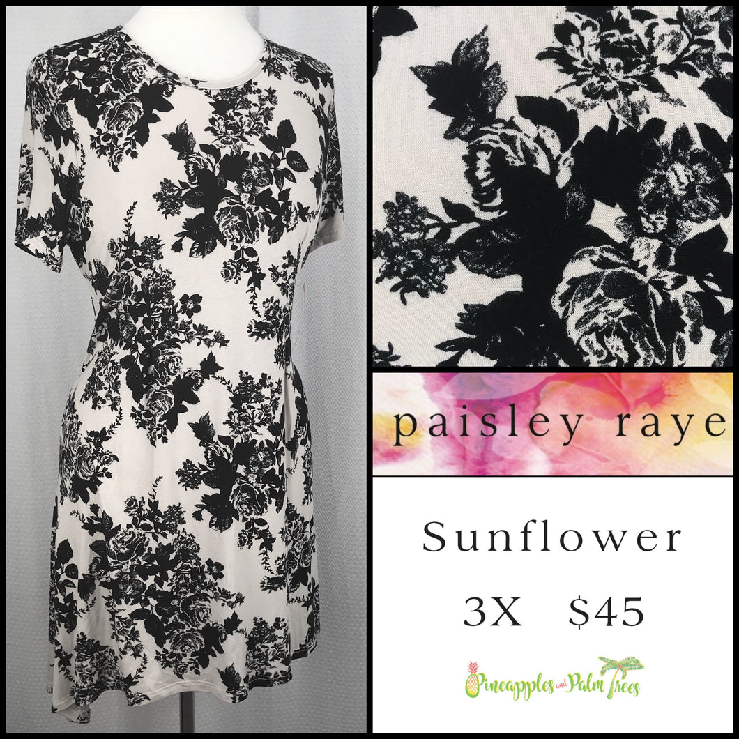 Paisley Raye Sunflower top Blush/Black Floral 3X, shop this Paisley Raye Sunflower Top and more at pineapplesandpalmtrees.net or locally in the Twelve Bridges Community of Lincoln, California.