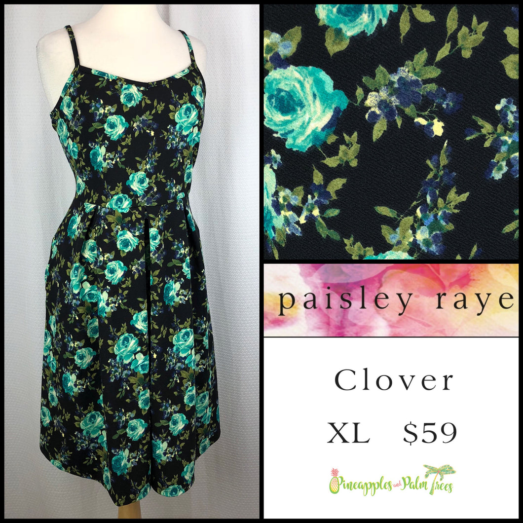 Paisley Raye Clover Dress, XL Black Floral, shop this Paisley Raye Clover Dress and more at pineapplesandpalmtrees.net or locally in the Twelve Bridges Community.Lincoln, California.