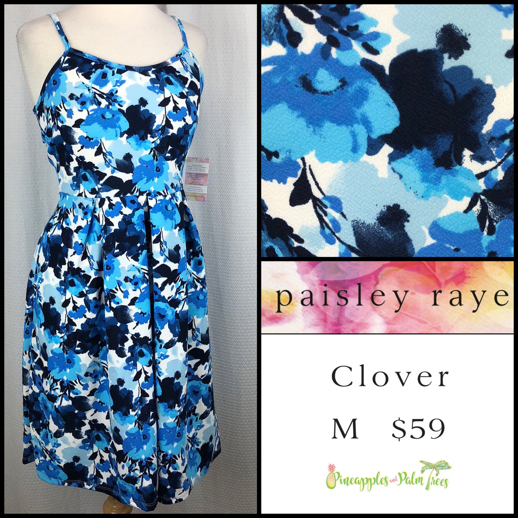 Paisley Raye Clover Dress, M Blue Floral, shop this Paisley Raye Clover Dress and more at pineapplesandpalmtrees.net or locally in the Twelve Bridges Community.Lincoln, California.