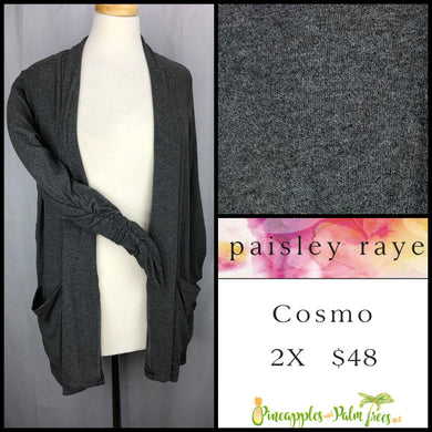 Paisley Raye Cosmo sweater, 2X solid gray, shop this Paisley Raye Cosmo and more at pineapplesandpalmtrees.net or locally in the Twelve Bridges Community.Lincoln, California,