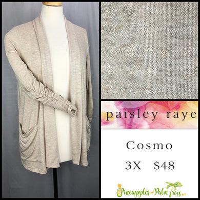 Paisley Raye Cosmo sweater 3X solid oatmeal, shop this Paisley Raye Cosmo and more at pineapplesandpalmtrees.net or locally in the Twelve Bridges Community.Lincoln, California,
