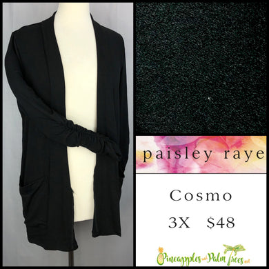 Paisley Raye Cosmo sweater, 3X solid black, shop this Paisley Raye Cosmo and more at pineapplesandpalmtrees.net or locally in the Twelve Bridges Community.Lincoln, California,