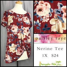 Load image into Gallery viewer, Paisley Raye Nerine Tee, 1X crimson Floral, shop this Paisley Raye Nerine Tee Shirt and more at pineapplesandpalmtrees.net or locally in the Twelve Bridges Community of Lincoln, California.