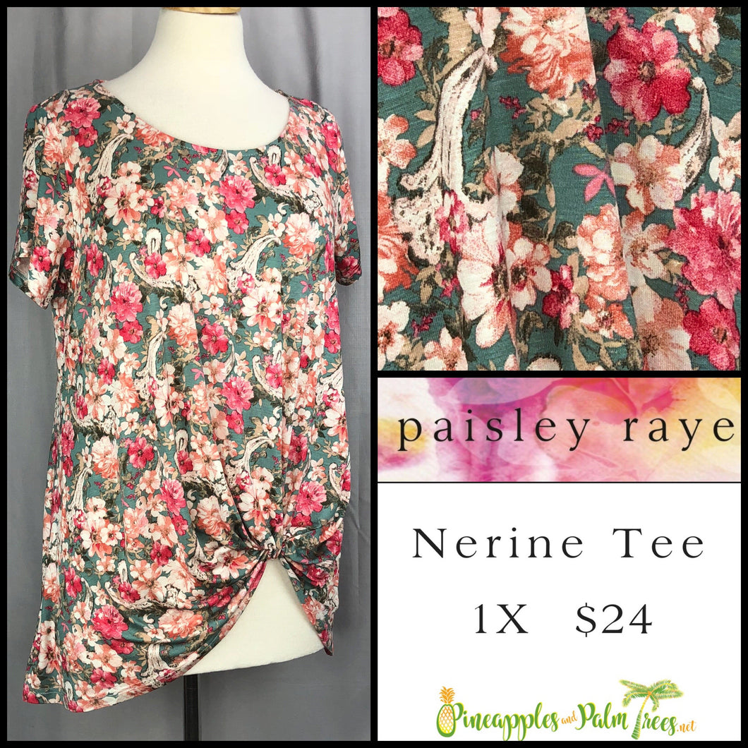 Paisley Raye Nerine Tee Green Floral 1X, shop this Paisley Raye Nerine Tee Shirt and more at pineapplesandpalmtrees.net or locally in the Twelve Bridges Community of Lincoln, California.