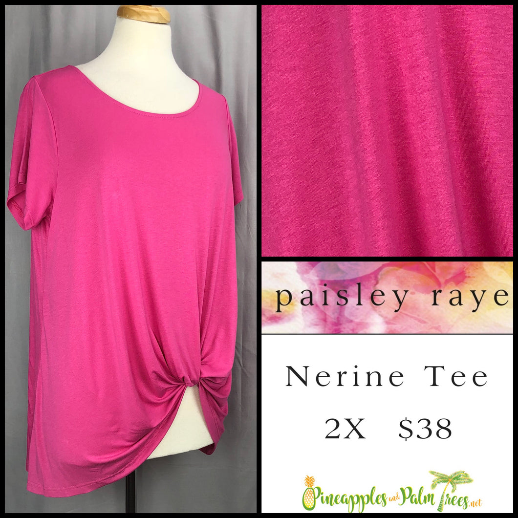 Paisley Raye Nerine Tee, 2X solid pink, shop this Paisley Raye Nerine Tee Shirt and more at pineapplesandpalmtrees.net or locally in the Twelve Bridges Community of Lincoln, California.