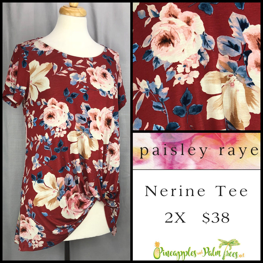 Paisley Raye Nerine Tee Brick Red Floral 2X, shop this Paisley Raye Nerine Tee Shirt and more at pineapplesandpalmtrees.net or locally in the Twelve Bridges Community of Lincoln, California.