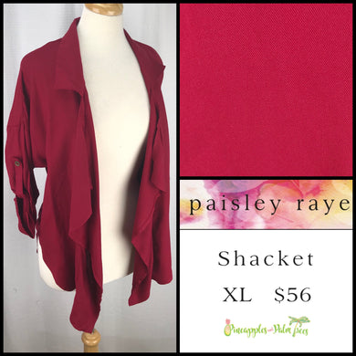 Paisley Raye Shacket solid Cranberry XL, shop this Paisley Raye Shacket and more at pineapplesandpalmtrees.net or locally in the Twelve Bridges Community of Lincoln, California.