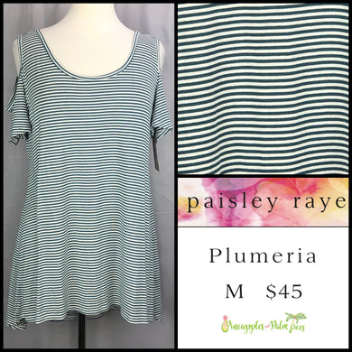 Paisley Raye Striped Blue/White M Plumeria. Shop this beautiful Paisley Raye Plumeria top and more at pineapplesandpalmtrees.net or locally in the Twelve Bridges Community of Lincoln, California.