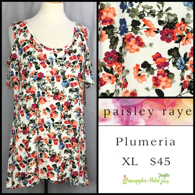 Paisley Raye White Floral XL Plumeria. Shop this beautiful Paisley Raye Plumeria top and more at pineapplesandpalmtrees.net or locally in the Twelve Bridges Community of Lincoln, California.