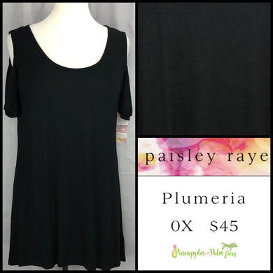 Paisley Raye Solid Black 0X Plumeria. Shop this beautiful Paisley Raye Plumeria top and more at pineapplesandpalmtrees.net or locally in the Twelve Bridges Community of Lincoln, California.