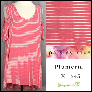 Paisley Raye Striped Pink/White 1X Plumeria. Shop this beautiful Paisley Raye Plumeria top and more at pineapplesandpalmtrees.net or locally in the Twelve Bridges Community of Lincoln, California.
