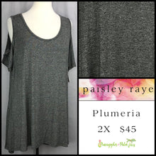 Load image into Gallery viewer, Paisley Raye Solid Charcoal 2X Plumeria. Shop this beautiful Paisley Raye Plumeria top and more at pineapplesandpalmtrees.net or locally in the Twelve Bridges Community of Lincoln, California.