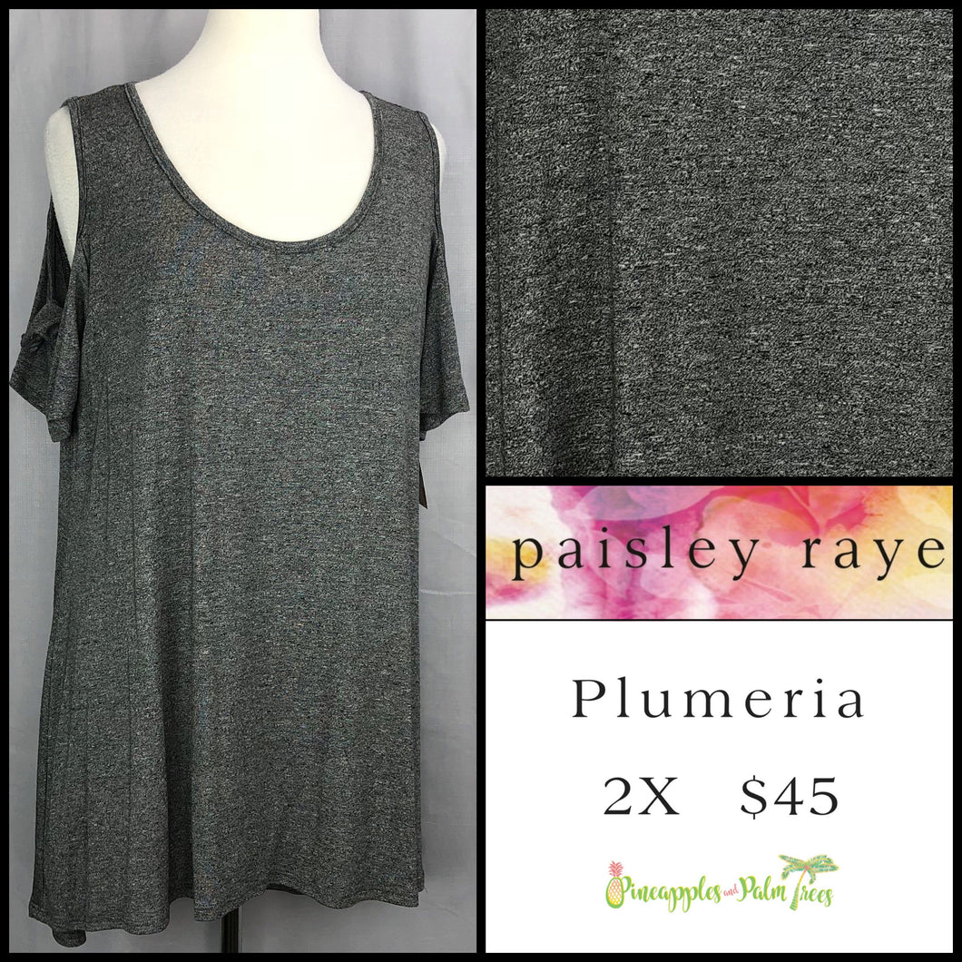 Paisley Raye Solid Charcoal 2X Plumeria. Shop this beautiful Paisley Raye Plumeria top and more at pineapplesandpalmtrees.net or locally in the Twelve Bridges Community of Lincoln, California.