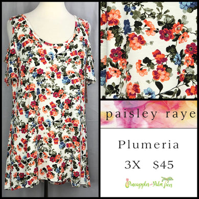 Paisley Raye White Floral 3X Plumeria. Shop this beautiful Paisley Raye Plumeria top and more at pineapplesandpalmtrees.net or locally in the Twelve Bridges Community of Lincoln, California.