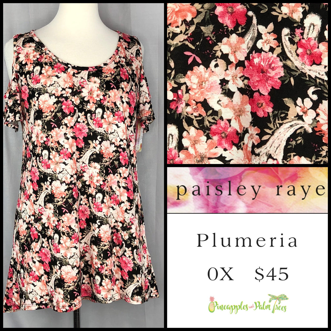 Paisley Raye White Floral 0X Plumeria. Shop this beautiful Paisley Raye Plumeria top and more at pineapplesandpalmtrees.net or locally in the Twelve Bridges Community of Lincoln, California.