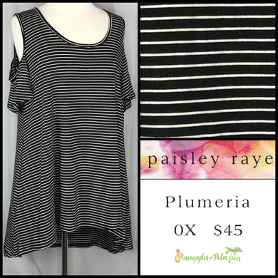 Paisley Raye Striped Black/White 0X Plumeria. Shop this beautiful Paisley Raye Plumeria top and more at pineapplesandpalmtrees.net or locally in the Twelve Bridges Community of Lincoln, California.