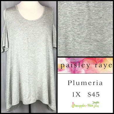 Paisley Raye Heathered Gray 1X Plumeria. Shop this beautiful Paisley Raye Plumeria top and more at pineapplesandpalmtrees.net or locally in the Twelve Bridges Community of Lincoln, California.