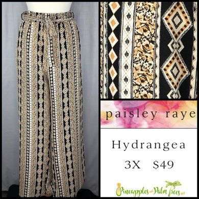 Paisley Raye Hydrangea Pant 3X in Brown/Black Patterned Stripes, shop this Paisley Raye Hydrangea Pant and more at pineapplesandpalmtrees.net or locally in the Twelve Bridges Community of Lincoln, California.