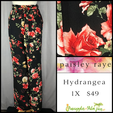 Paisley Raye Hydrangea Pant Black Red Rose Floral 1X, shop this Paisley Raye Hydrangea Pant and more at pineapplesandpalmtrees.net or locally in the Twelve Bridges Community of Lincoln, California.