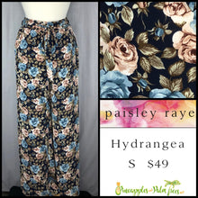 Load image into Gallery viewer, Paisley Raye Hydrangea Pant Blue Floral on Black S, shop this Paisley Raye Hydrangea Pant and more at pineapplesandpalmtrees.net or locally in the Twelve Bridges Community of Lincoln, California.