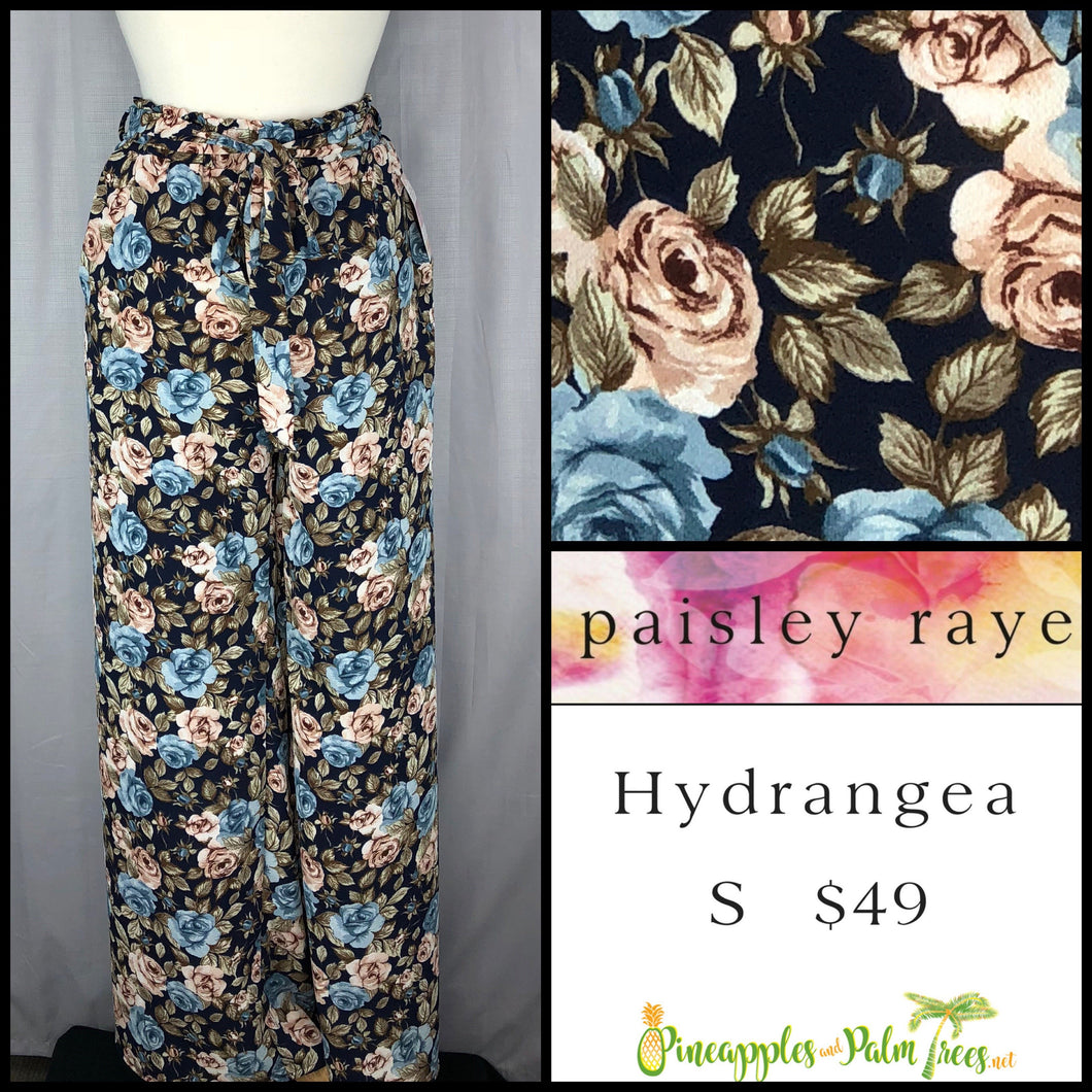 Paisley Raye Hydrangea Pant Blue Floral on Black S, shop this Paisley Raye Hydrangea Pant and more at pineapplesandpalmtrees.net or locally in the Twelve Bridges Community of Lincoln, California.