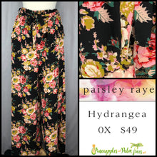 Load image into Gallery viewer, Paisley Raye Hydrangea Pant Blue Floral on Black 0X, shop this Paisley Raye Hydrangea Pant and more at pineapplesandpalmtrees.net or locally in the Twelve Bridges Community of Lincoln, California.
