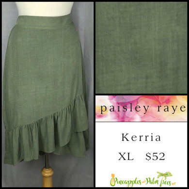 Paisley Raye Kerria Skirt XL Solid Olive, shop this Paisley Raye Kerria Skirt and more at pineapplesandpalmtrees.net or locally in the Twelve Bridges Community of Lincoln, California.