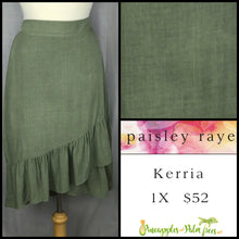 Load image into Gallery viewer, Paisley Raye Kerria Skirt Solid Olive 1X, shop this Paisley Raye Kerria Skirt and more at pineapplesandpalmtrees.net or locally in the Twelve Bridges Community of Lincoln, California.