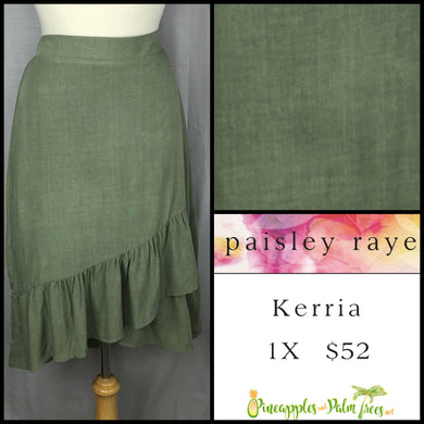 Paisley Raye Kerria Skirt Solid Olive 1X, shop this Paisley Raye Kerria Skirt and more at pineapplesandpalmtrees.net or locally in the Twelve Bridges Community of Lincoln, California.