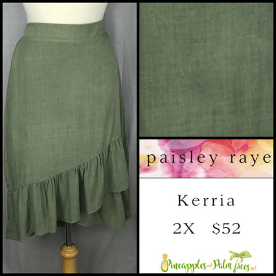 Paisley Raye Kerria Skirt Solid Olive 2X, shop this Paisley Raye Kerria Skirt and more at pineapplesandpalmtrees.net or locally in the Twelve Bridges Community of Lincoln, California.