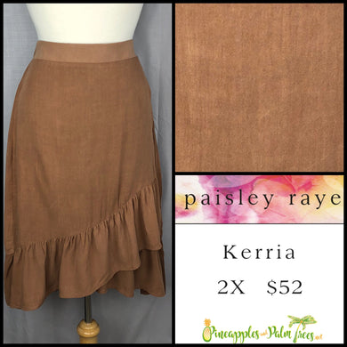 Paisley Raye Kerria Skirt Solid Brown 2X, shop this Paisley Raye Kerria Skirt and more at pineapplesandpalmtrees.net or locally in the Twelve Bridges Community of Lincoln, California.