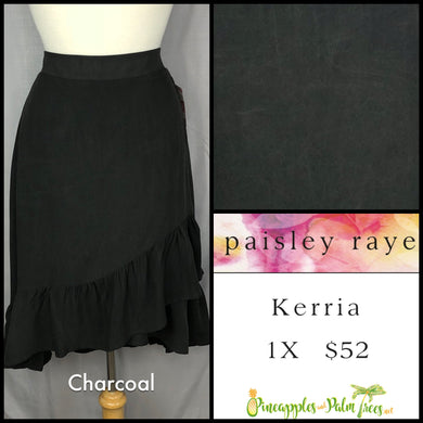 Paisley Raye Kerria Skirt Solid Charcoal 1X, shop this Paisley Raye Kerria Skirt and more at pineapplesandpalmtrees.net or locally in the Twelve Bridges Community of Lincoln, California.
