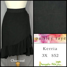Load image into Gallery viewer, Paisley Raye Kerria Skirt Solid Charcoal 3X, shop this Paisley Raye Kerria Skirt and more at pineapplesandpalmtrees.net or locally in the Twelve Bridges Community of Lincoln, California.