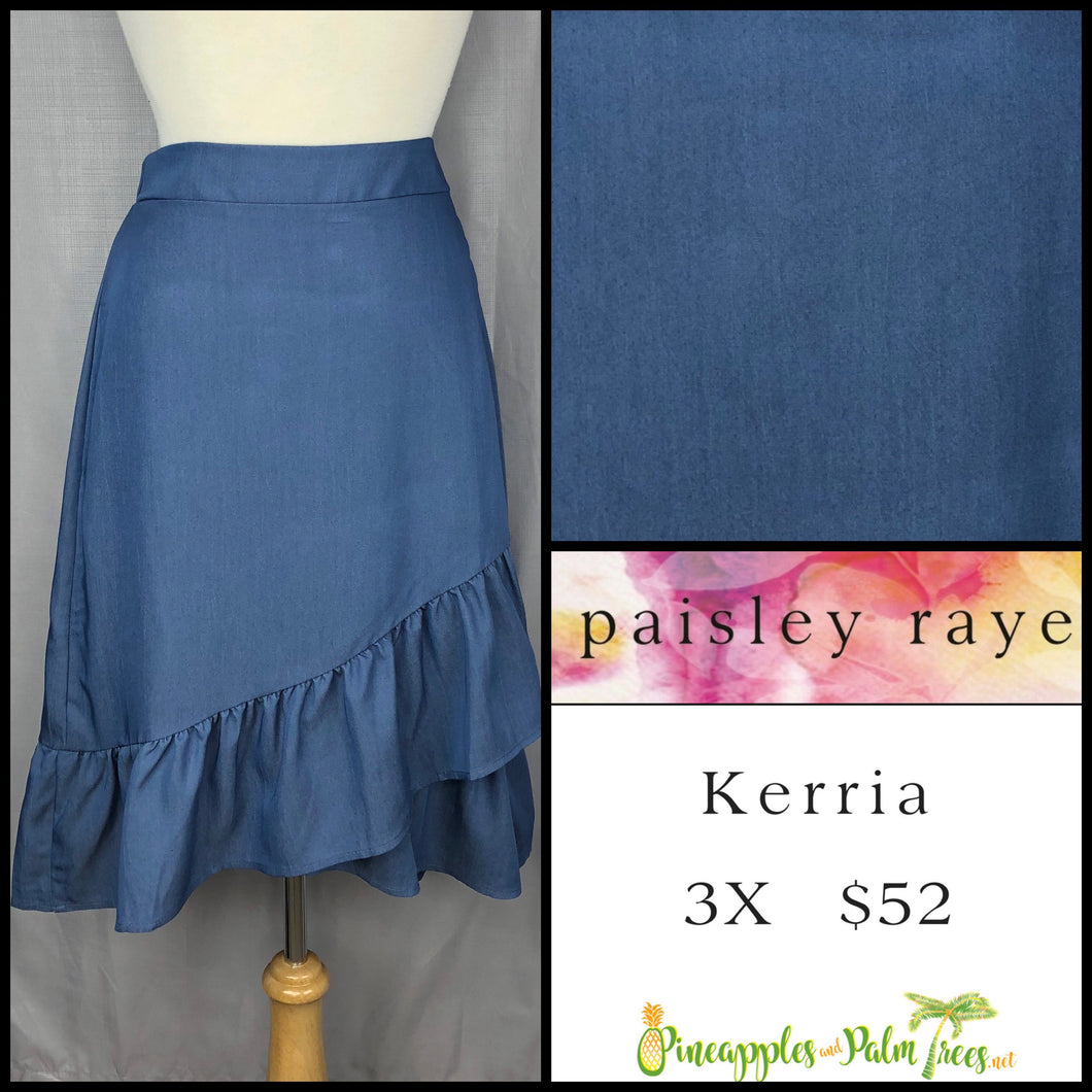 Paisley Raye Kerria Skirt Solid Blue 3X, shop this Paisley Raye Kerria Skirt and more at pineapplesandpalmtrees.net or locally in the Twelve Bridges Community of Lincoln, California.