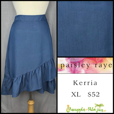 Paisley Raye Kerria Skirt Solid Blue XL, shop this Paisley Raye Kerria Skirt and more at pineapplesandpalmtrees.net or locally in the Twelve Bridges Community of Lincoln, California.
