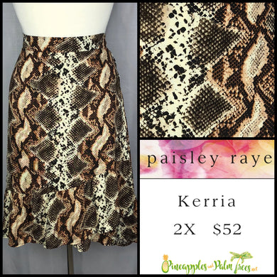 Paisley Raye Kerria Skirt Brown Snake Skin 2X, shop this Paisley Raye Kerria Skirt and more at pineapplesandpalmtrees.net or locally in the Twelve Bridges Community of Lincoln, California.