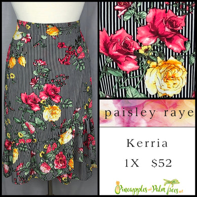 Paisley Raye Kerria Skirt Red/Yellow Roses on Black/White Stripes 1X, shop this Paisley Raye Kerria Skirt and more at pineapplesandpalmtrees.net or locally in the Twelve Bridges Community of Lincoln, California.
