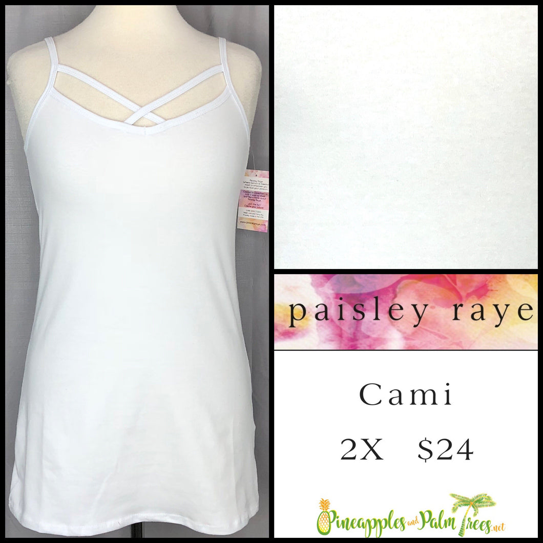 Paisley Raye Criss Cross Cami 2X solid White, shop this Paisley Raye Crisscross Cami and more at pineapplesandpalmtrees.net or locally in Lincoln, California, in the Twelve Bridges Community.
