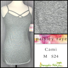 Load image into Gallery viewer, Paisley Raye Criss Cross Cami M solid Gray, shop this Paisley Raye Crisscross Cami and more at pineapplesandpalmtrees.net or locally in Lincoln, California, in the Twelve Bridges Community.