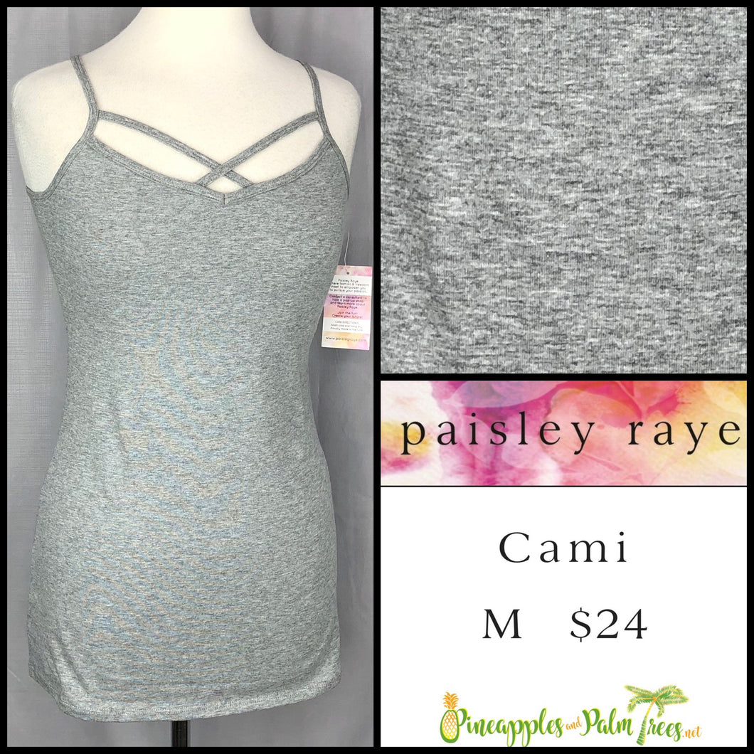 Paisley Raye Criss Cross Cami M solid Gray, shop this Paisley Raye Crisscross Cami and more at pineapplesandpalmtrees.net or locally in Lincoln, California, in the Twelve Bridges Community.