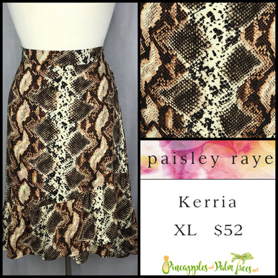 Paisley Raye Kerria Skirt XL, brown snake, shop this Paisley Raye Kerria Skirt and more at pineapplesandpalmtrees.net or locally in the Twelve Bridges Community of Lincoln, California.