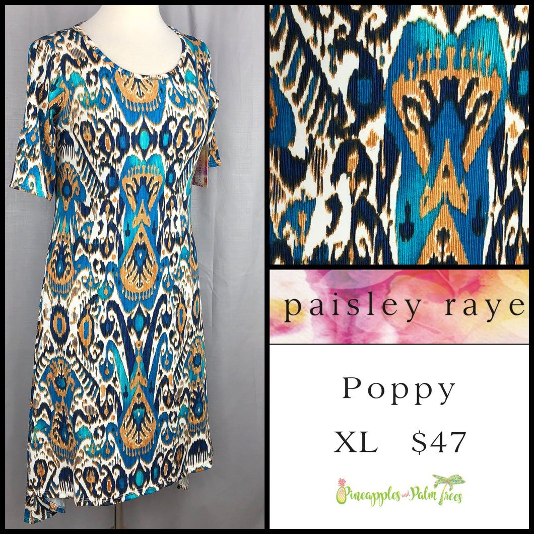 Paisley Raye Poppy Dress, White Multi Print XL, shop this Paisley Raye Poppy Dress and more at pineapplesandpalmtrees.net or locally in the Twelve Bridges Community of Lincoln, California.