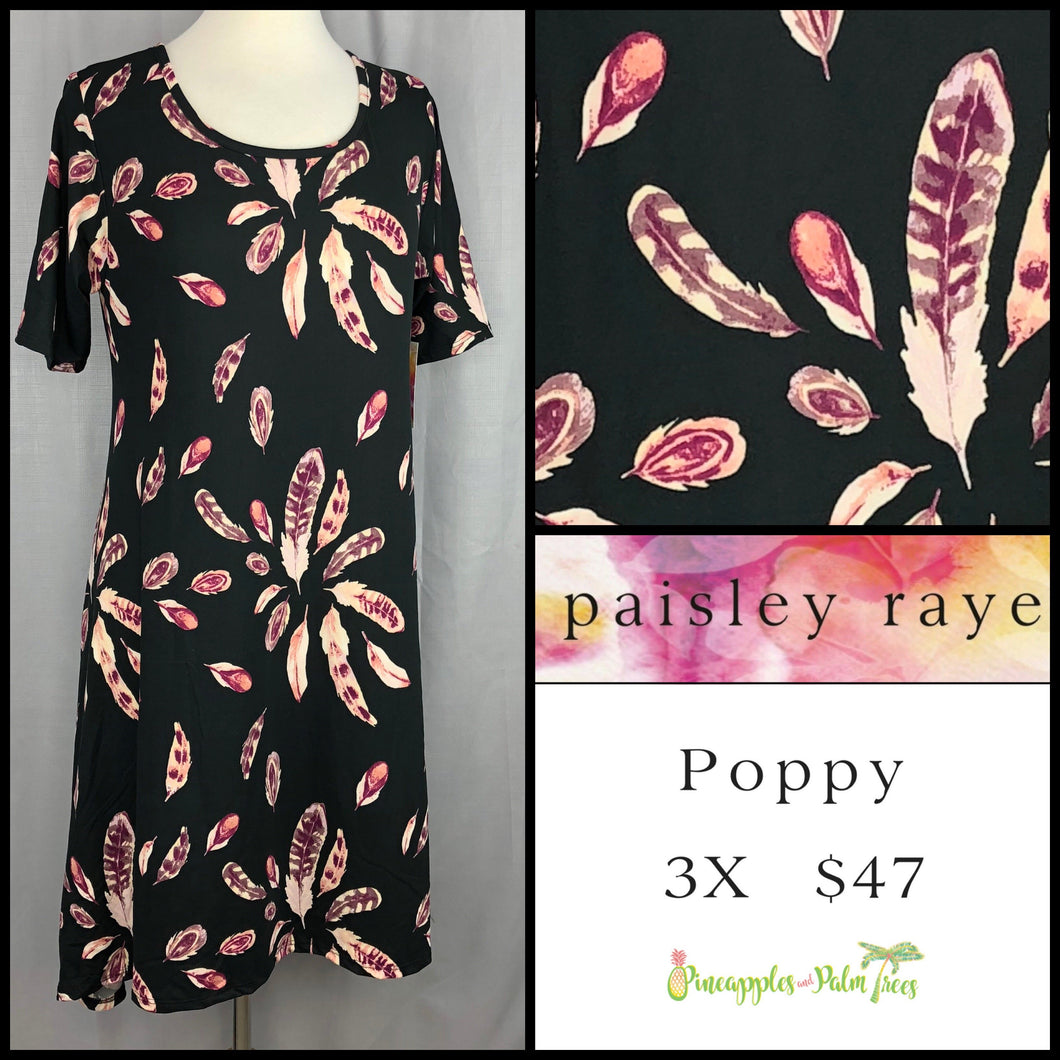 Paisley Raye Poppy Dress, black feathered 3X, shop this Paisley Raye Poppy Dress and more at pineapplesandpalmtrees.net or locally in the Twelve Bridges Community of Lincoln, California.