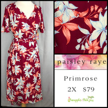 Load image into Gallery viewer, Paisley Raye Primrose 2X dark red floral dress, shop this Paisley Raye Primrose Dress and more at pineapplesandpalmtrees.net or locally in the Twelve Bridges Community of Lincoln, California.