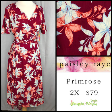 Paisley Raye Primrose 2X dark red floral dress, shop this Paisley Raye Primrose Dress and more at pineapplesandpalmtrees.net or locally in the Twelve Bridges Community of Lincoln, California.
