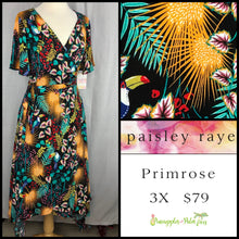 Load image into Gallery viewer, Paisley Raye Primrose 3X Black tropical floral dress, shop this Paisley Raye Primrose Dress and more at pineapplesandpalmtrees.net or locally in the Twelve Bridges Community of Lincoln, California.