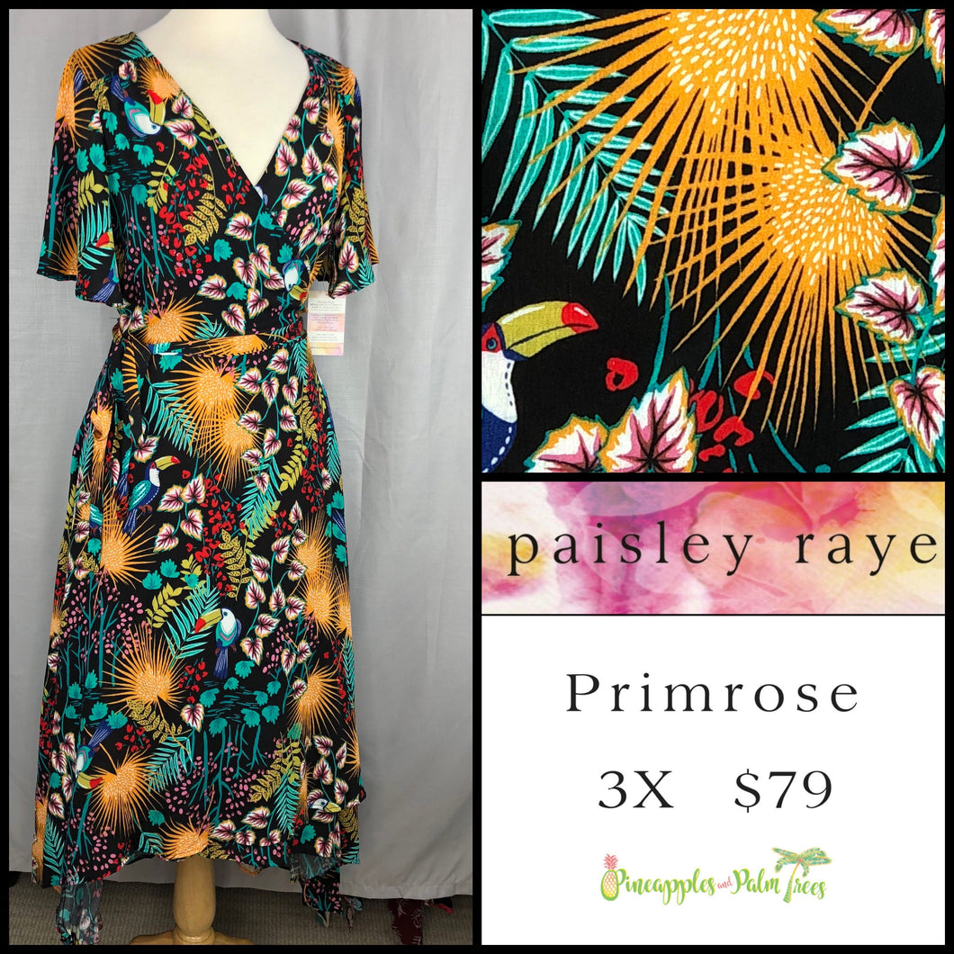 Paisley Raye Primrose 3X Black tropical floral dress, shop this Paisley Raye Primrose Dress and more at pineapplesandpalmtrees.net or locally in the Twelve Bridges Community of Lincoln, California.