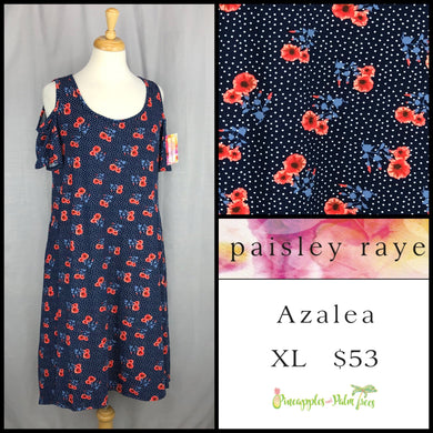 Paisley Raye Azalea cold shoulder dress XL Blue Floral, shop the Paisley Raye Azalea dress at pineapplesandpalmtrees.net or locally in Lincoln, California, in the Twelve Bridges Community.