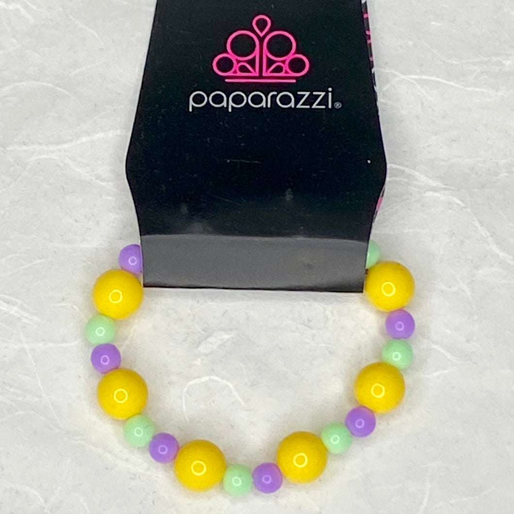 Kids: Starlight Shimmer Bracelet - yellow blue beads with smaller green and purple beads on a stretchy band | Paparazzi Jewelry
